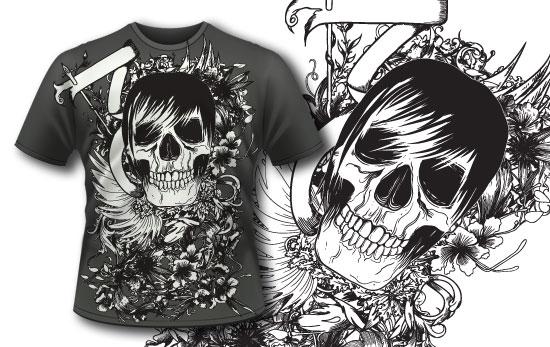 Tshirt design 110 products 110 ribbon with skull shirt
