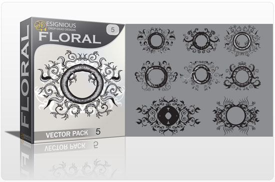 Floral vector pack 5 products FLORAL frame 5