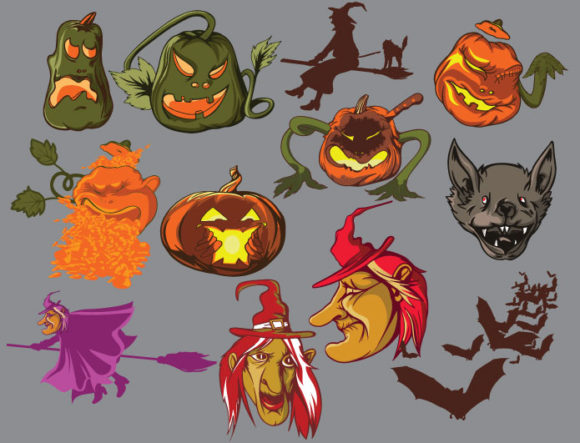 Halloween Vector pack products HALLOWEEN pumpkin prewiev