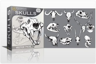 Skulls vector pack 12 Skulls animal