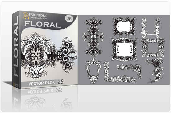 Floral vector pack 25 products abstract flora vectorl 25