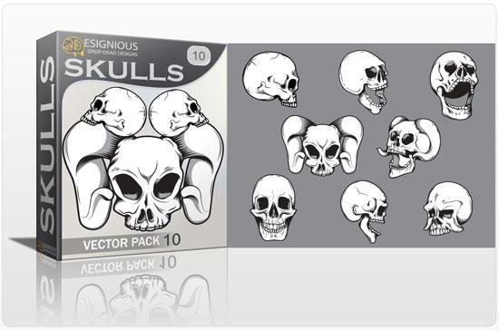 Skulls vector pack 10 Skulls bones