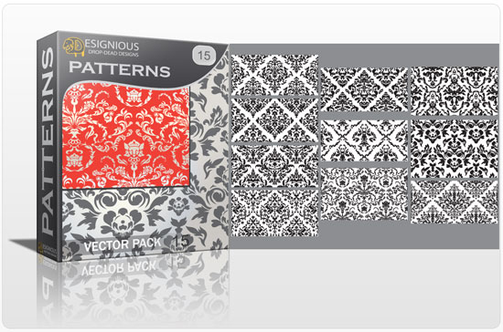 Seamless patterns vector pack 15 Patterns victorian