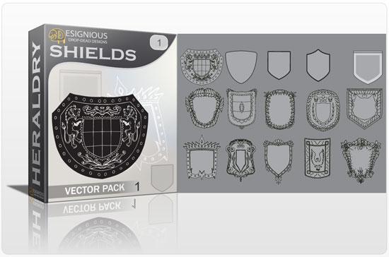 Shields vector pack Heraldry victorian