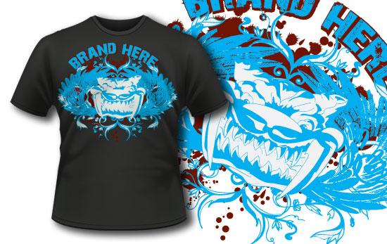 T-shirt design 45 products big teeth cat tee 45