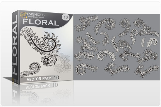 Floral vector pack 10 products branch vector l10