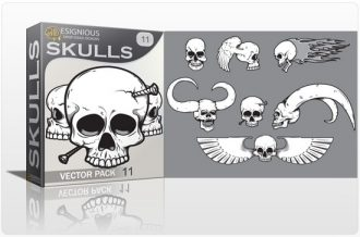 Skulls vector pack 11 Skulls bones