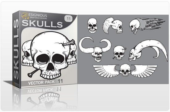 Skulls vector pack 11 products carribean skull 11
