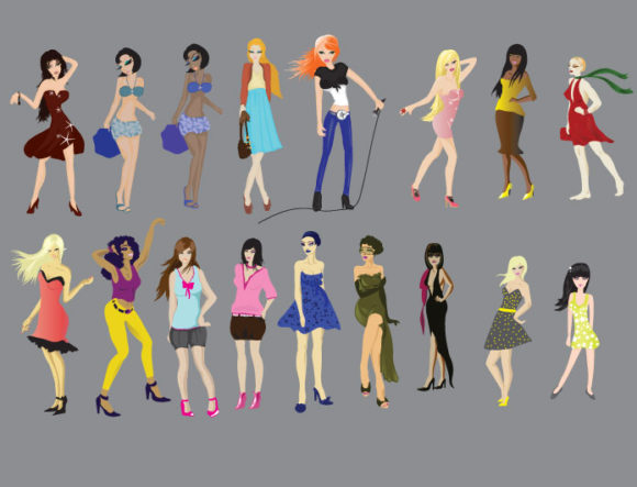 Cartoon girls vector pack People CARTOON