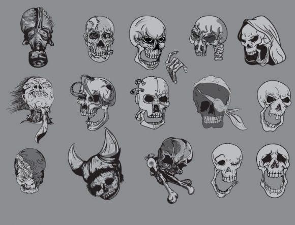 Skulls vector pack 1 products clipart skulls 1 prewiev