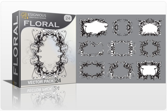 Floral vector pack 24 products complex floral frames 24