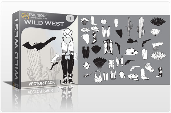 Wild west vector pack products cow boy symbols wild west