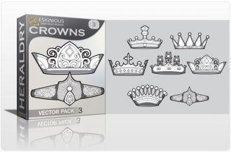Crowns vector pack 3 Heraldry antiquity