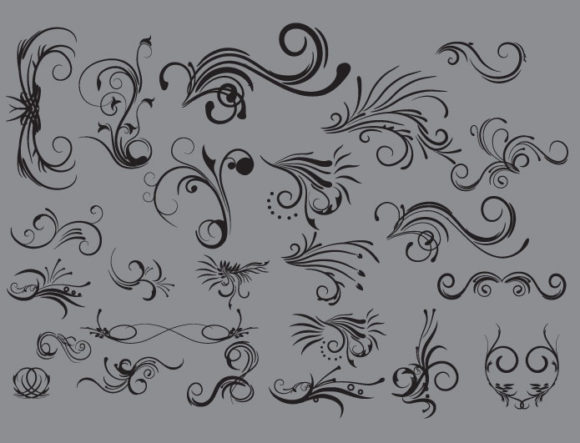 Floral vector pack 7 products curl floral 7 prewiev