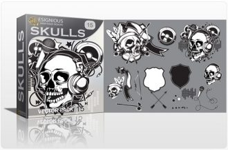 Skull vector pack 15 Skulls ribbon