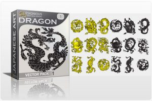 Dragon vector pack Japanese Art tattoo