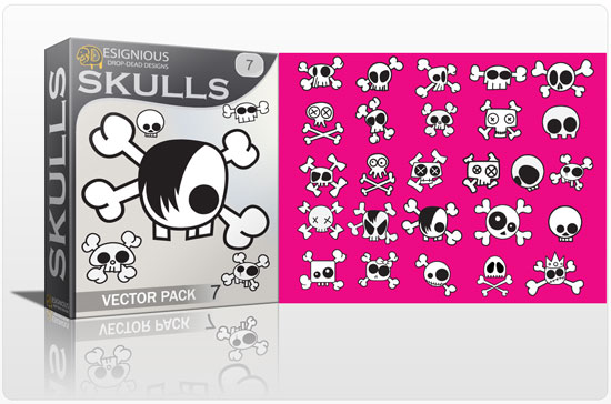 Skulls vector pack 7 products emo kid skulls 7