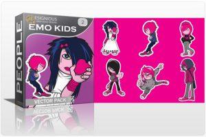 Emo kids vector pack 2 People emo