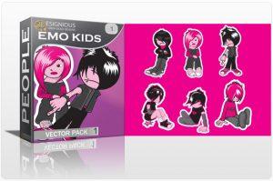Emo kids vector pack 1 People emo