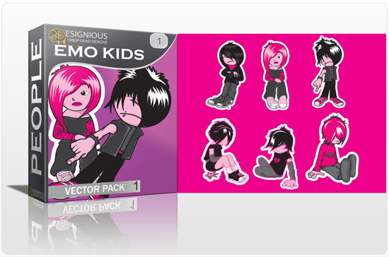 Emo kids vector pack 1 products emo kids