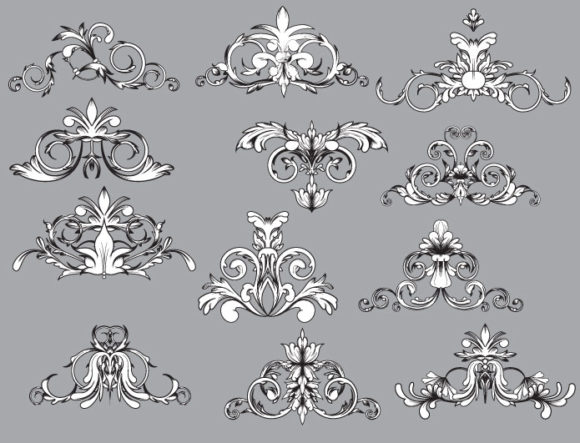 Floral vector pack 35 products engraved curls 35 1