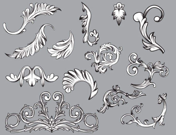 Floral vector pack 32 products engraved floral 32 prewiev