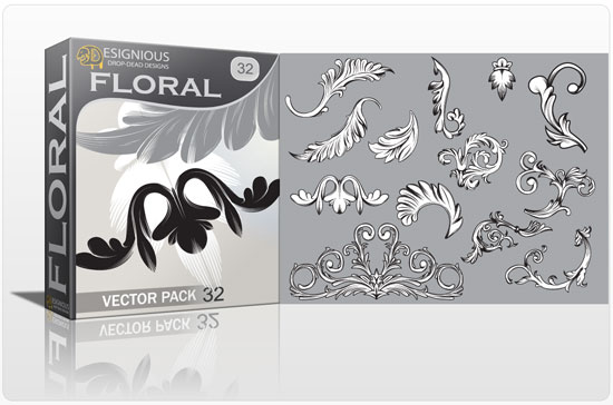 Floral vector pack 32 products engraved floral vectors 32