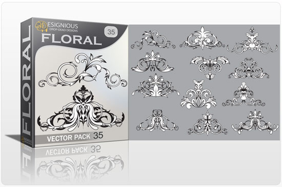 Floral vector pack 35 products engraved flower 35