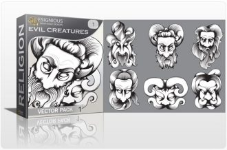 Evil creatures vector pack Religion monster