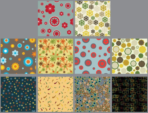 Seamless patterns vector pack 9 Vector Patterns flower