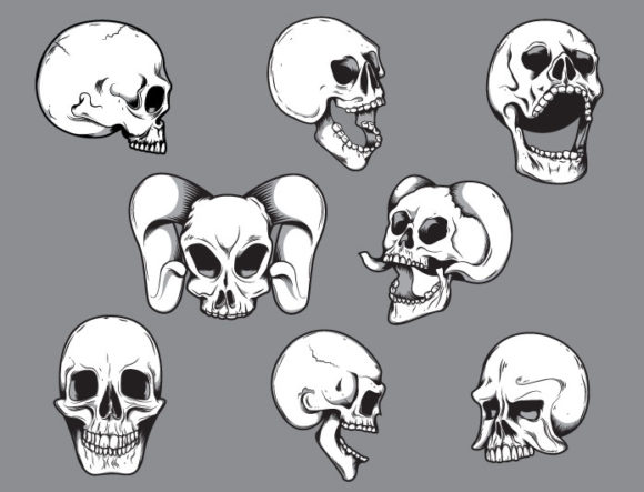 Skulls vector pack 10 products file 3