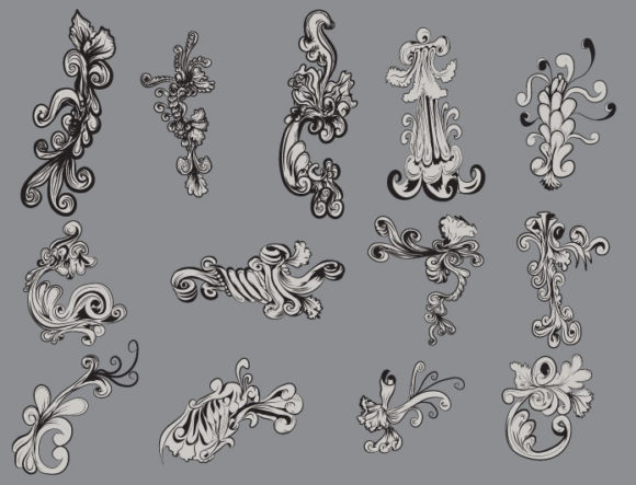 Floral vector pack 15 products floral 15 ornate prewiev
