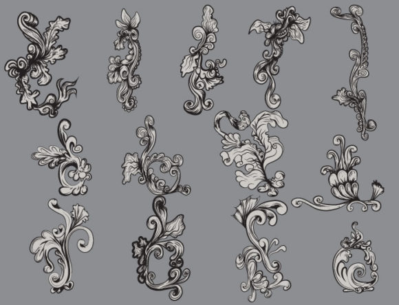 Floral vector pack 16 products floral 16 cartouche prewiev