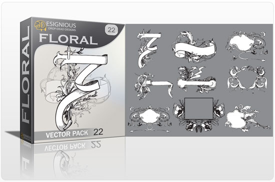 Floral vector pack 22 products floral decoration 22