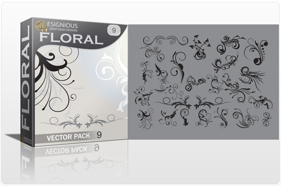 Floral vector pack 9 products floral design 9