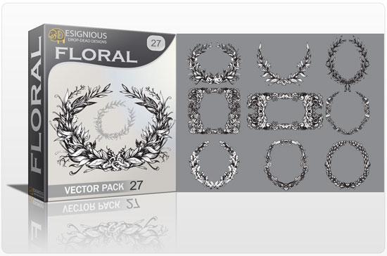 Floral vector pack 27 products floral laurel sport 27