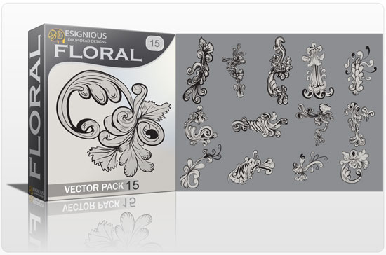 Floral vector pack 15 products floral plant 15