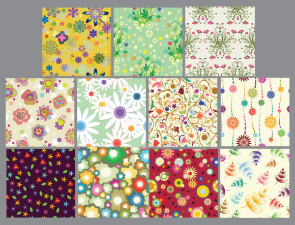 Seamless patterns vector pack 14 products floral seamless patterns 14 prewiev