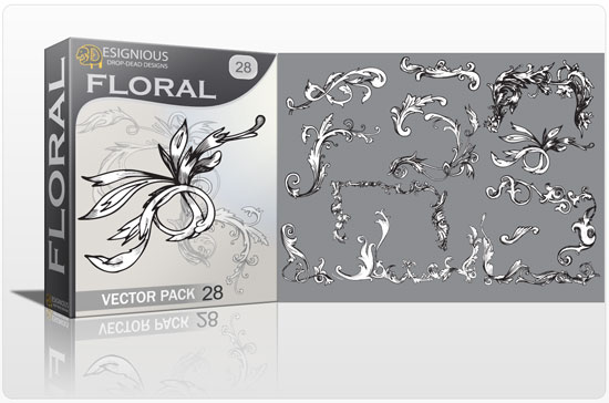 Floral vector pack 28 products floral silhouette 28