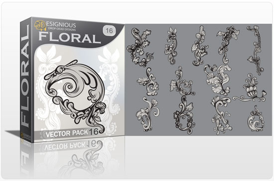 Floral vector pack 16 products floral swirl 16