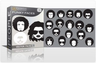 Funky faces vector pack People style