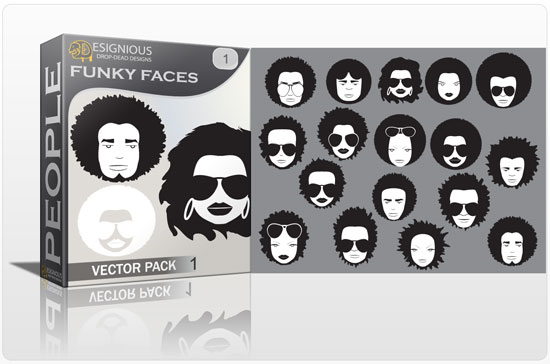 Funky faces vector pack 1