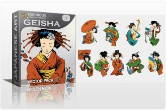 Geisha vector pack Japanese Art female