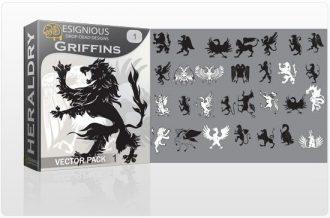 Griffins vector pack 1 Heraldry heraldic