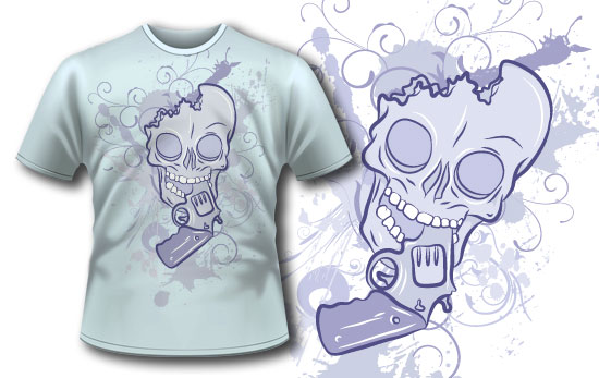 T-shirt design 75 products gun and skull 75 1