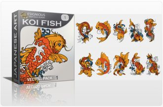 Koi fish vector pack Japanese Art wave