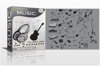 Music vector pack Music mic