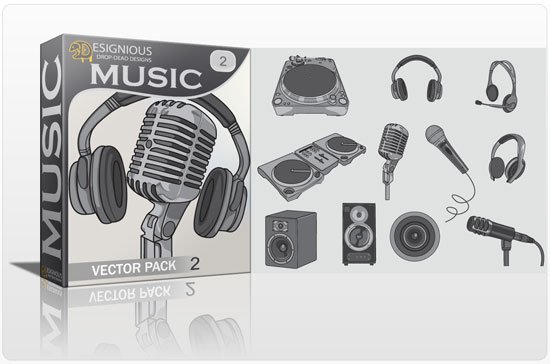 Music vector pack 2 products music mic headphones  2