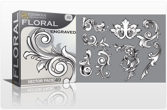 Floral vector pack 49 products old floral design 49
