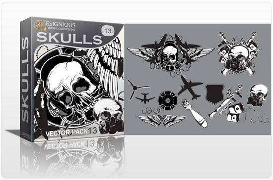 Skulls vector pack 13 Skulls bones